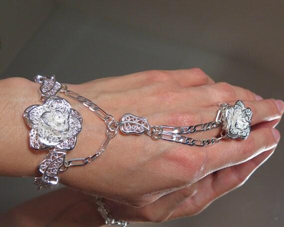 """Adjustable 100% Sterling Silver """"Slave Bracelet"""" Ring. Filigree Flower Rose Bracelet w an adjustable Filigree Rose Ring.Fits 6 to 8"""" wrists"""