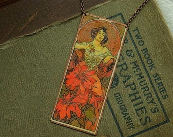 Mucha necklace mixed media jewelry Ruby Precious Gems series Goddess