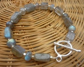 Otherworldly Luminous Labradorite and Sterling Silver Toggle Bracelet