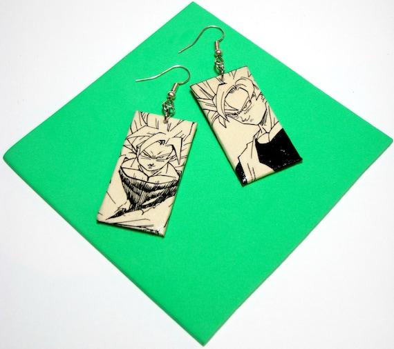 Dragonball Goku Earrings. Comic Capture. Manga Anime Comic Collage. Wood Base. Nickel Free. Super Saiyan.