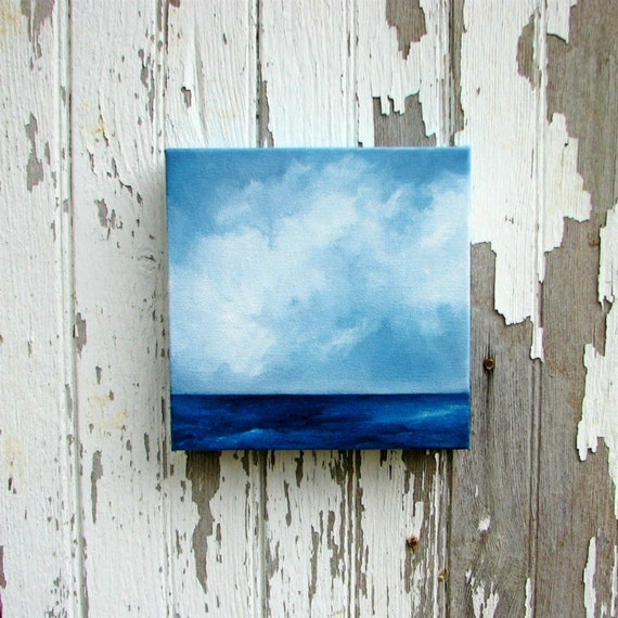 Seascape original art oil painting clouds nautical ocean painting 8x8 - Aiming for the Horizon