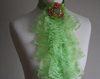 Lime green lace jabot FREE UK SHIPPING