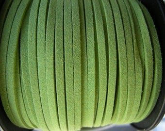 5m Light Green faux suede cord, 3mm wide, Fresh green faux suede cord 3mm, 5m (16 ft)