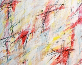 Untitled Red I, 9-12-12, (abstract painting, pastel, red, white, yellow, blue, green)