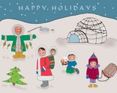 Printable Holiday Christams Card Unique eskimo funny fun happy holiday family photo new different happy Personalized Photo card