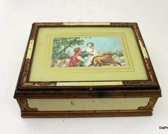 Vintage Wood Jewelry Box  French Country 1920s Lovers Courting Keepsake box time capsule Gift Box Antique Wooden Trinket box Soap holder