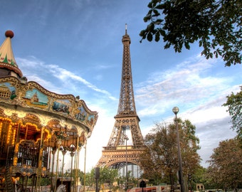 EIFFEL TOWER FRANCE Carousel French Photographic Photo Print