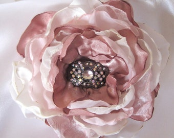 Dusty Rose Ivory  and Pink Wedding Flower Hair Clip Brooch Bride, Bridesmaid Mother of  Bride with Aurora borealis Rhinestone Accent