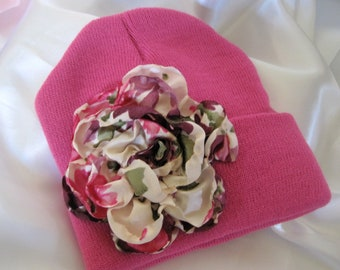 Pink YOUTH Beanie  with a Beautiful Satin Print Open Rose
