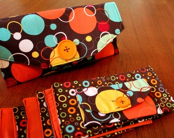 Fabric Cash Envelope budget system with EMBROIDERED LABELS - Orange Circles