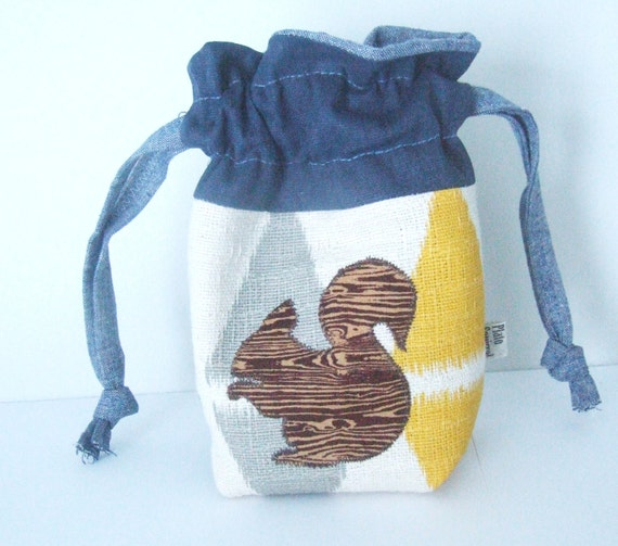 Drawstring Bag - Fabric Basket - Small Pouch