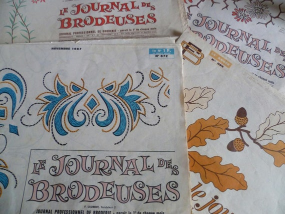 French Vintage Embroidery Pattern Magazines X 4 Circa 1960's