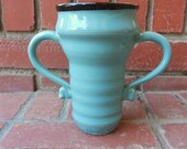Turquoise Gloss and Black Double Handle Vase