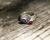 3 Gemstone Ring Stack - Size 6.5