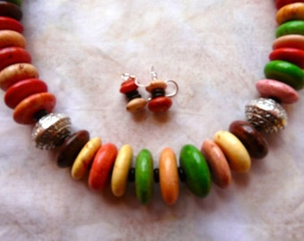 SALE!   23 Inch Graduated Fall Colored Stone Disk Necklace with Earrings