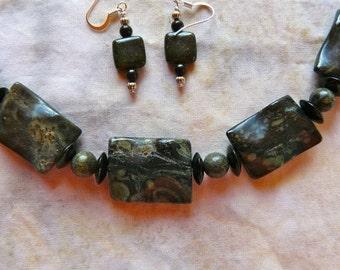 SALE!  20 Inch Dark Green African Kambaba Jasper Necklace and Earrings