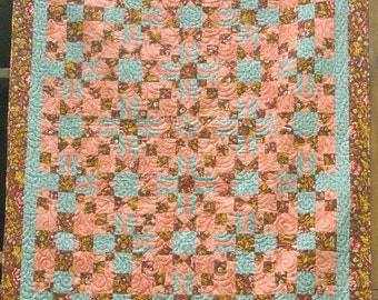 61 x 81 Inc Twin Sized Brown, Rose, and Aqua Star Lap Quilt