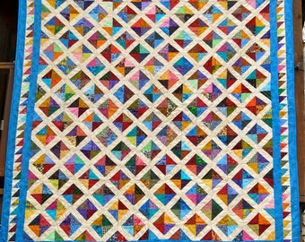 REDUCED!  78 x 86 Inch Full -Sized Brightly Colored Diamond Patchwork Quilt