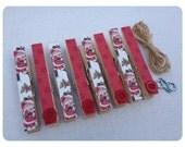 Clothespin Clothesline Photo Hanging Kit Colorful Santa and Red Polka dots