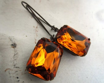 Topaz Rhinestone Earrings Vintage Topaz Rhinestone Drop Earrings Amber Golden Honey Rhinestone Earrings November Birthstone