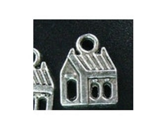 5 Antiqued Silver House or Church Charms - BC102