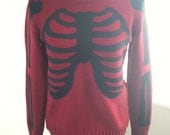 Red and Black Skeleton Sweater