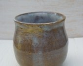 brown handleless cup or wine glass stoneware clay tumbler handmade