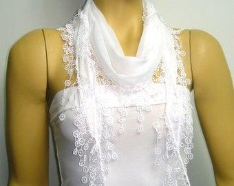 White scarf - Wedding shawl with white lace fringe bridesmaid gift - bridesmaid scarf