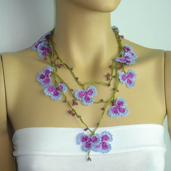 Crochet oya lace purple blue necklace with  beads - beaded lariat necklace