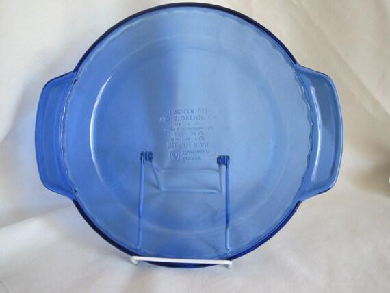 Vintage Cobalt Blue Anchor Ovenware Deep Dish Pie Plate