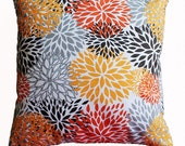 "CLEARANCE! Autumn Mums Orange Floral Pillow Cover - 18"" X 18"" Pillow Cover"