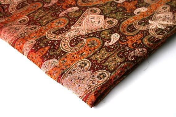 Orange brown beige paisley brocade india fabric nr 48 fat quarter