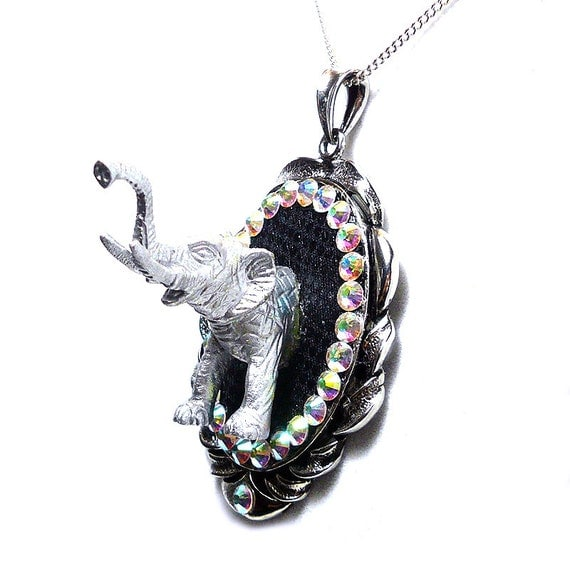 Elephant Cameo Pendant - 3D Necklace with Swarovski Crystals - Statement piece