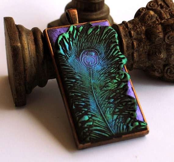 Peacock Feather Pendant, purple background, teal, green, layered pendant, antique copper bezel