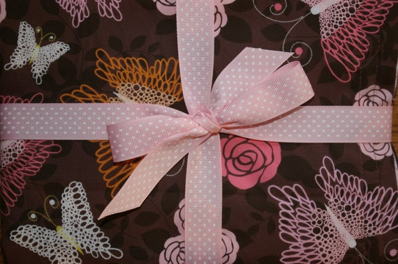 butterfly baby blanket pink and brown toddler blanket lap blanket