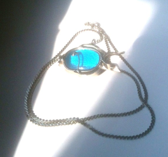 Blue Quartz Fish Pendant Necklace 1960s Vintage Jewelry Gift