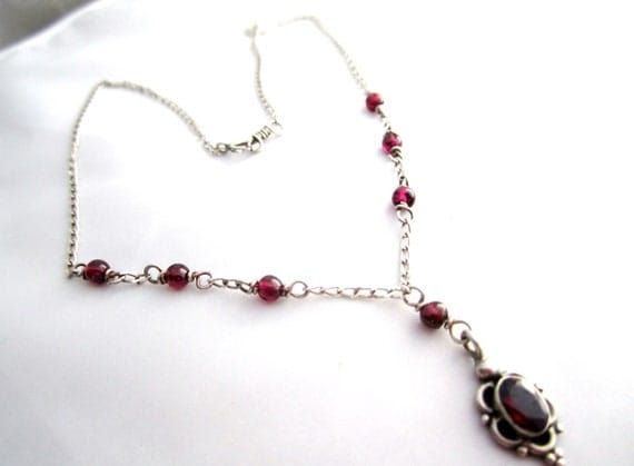 Amethyst Pendant Sterling Silver Necklace 1950s Vintage Jewelry Gift
