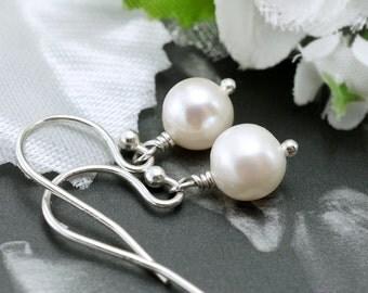 Simple pearl earrings, Bridesmaids gifts, Freshwater pearls, Pearl drop earrings, Bridal jewelry, Sterling silver