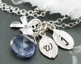 Two initials necklace, Leaf charms, Orchid necklace, Sterling silver, Custom birthstone, Monogrammed