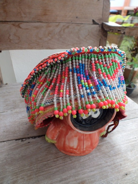 Vintage Hmong Baby Hat  Handmade Fabric, handmade tapestry and textiles, hill tribal fabrics