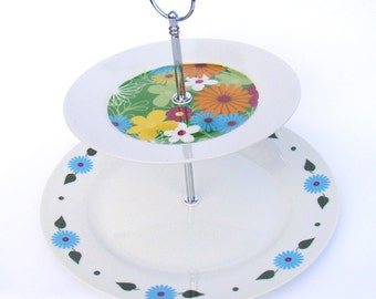 Up cycled serving plate double tier etagere colorful flowers print handmade