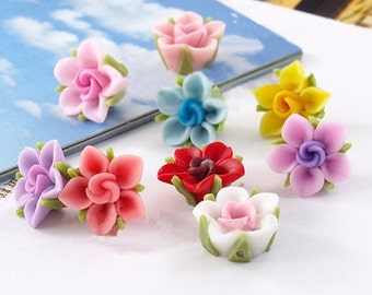 10 pcs 13 mm Polymer Clay Flower Beads FIMO Pendant Charm craft jewelry Necklaces Earrings Bracelet Accessories in 10 colours
