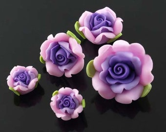 5 pcs 22-12 mm Polymer Clay suit Flower , Beads FIMO Pendant Charm craft jewelry Necklaces Earrings Bracelet Accessories-purple
