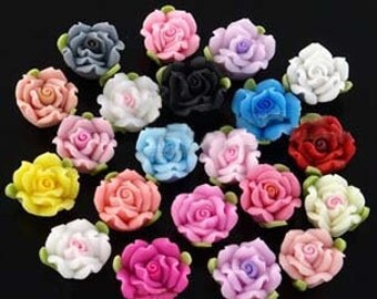 20 pcs 12mm Mixed Color  Polymer Clay Flower , Beads FIMO  Charm craft jewelry Necklaces Earrings Bracelet Accessories by sunshinepark99