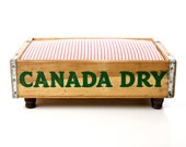 Pepsi Canada Dry REVERSIBLE Luxury Vintage Cat Dog Pet Bed, Upcycled Soda Crate, Rustic Industrial Chic, Red & White Stripe