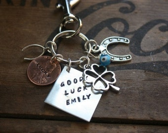 The Ultimate Personalized Good Luck Charm - Keychain Bag Clip Four Leaf Clover Horseshoe Wishbone Lucky Penny