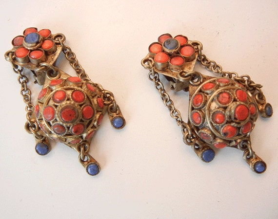 Vintage 1970s Ethnic Brass Earrings / Tribal Gold Tone Chandelier Earring Lapis and Carnelian