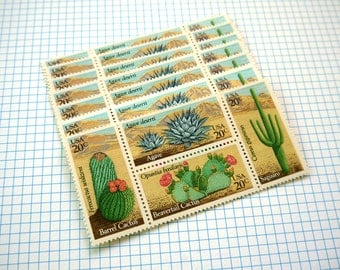 20 pieces - Vintage unused 1981 20 cent Desert Plants - Cactus, Cacti stamps