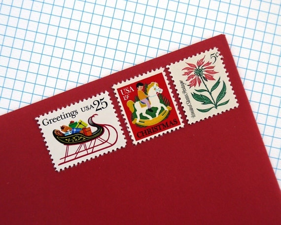 Vintage unused - Christmas Greetings - postage stamps to post 5 Holiday letters or Christmas Cards