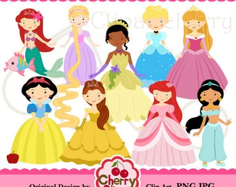 Fairytale Princess Digital Clipart Set for-Personal and Commercial Use- for Card Design, Scrapbooking, and Web Design